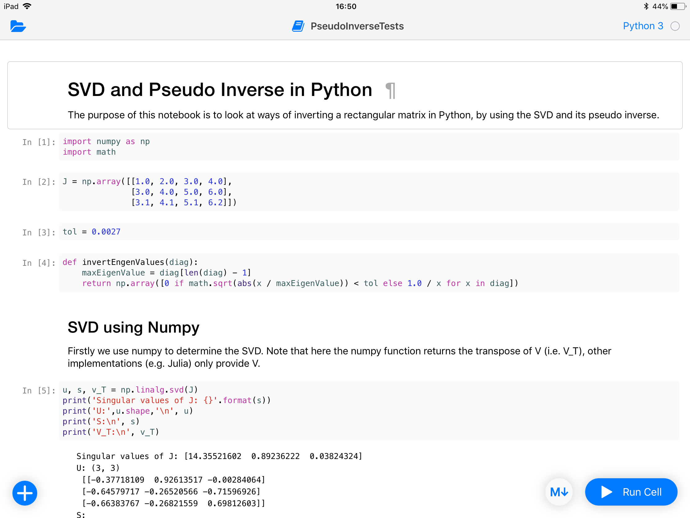 Running Jupyter notebook on iPad using Juno app  | My blog about stuff